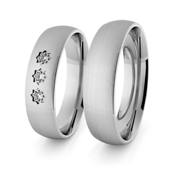 Obrączki ślubne klasyczne z białego złota niklowego 5 mm z brylantami z brylantami - 42