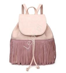 Jasno różowy plecak damski z frędzlami