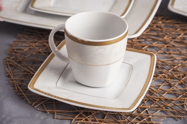 Filiżanka z podstawką do cappuccino höganäs keramik biała