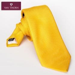 Elegancki żółty krawat z grenadyny o drobnym splocie