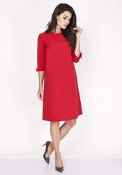 Czerwona Trapezowa Sukienka Mini z Uroczymi Kokardkami