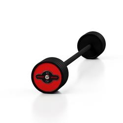 Sztanga gumowana prosta 40 kg czerwony połysk - marbo sport