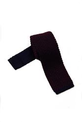 Granatowy krawat knit hemley w czerwone kropeczki