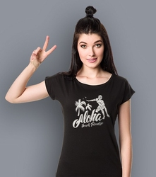 Aloha - beach paradise t-shirt damski czarny l