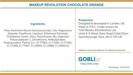 Makeup revolution chocolate orange, czekoladowa paletka cieni 22g