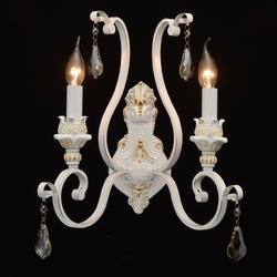 Kinkiet klasyczny jak podwójny świecznik, złocenia i kryształy chiaro country 639022902
