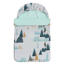 Śpiwór bawełniany wiosenno-letni samiboo superb mini z regulowaną grubością - góry na szarym tle z miętą