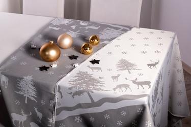 Obrus na stół świąteczny boże narodzenie altom design dwustronny, dekoracja skandynawia 140 x180 cm