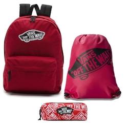 Plecak szkolny vans realm biking red - vn0a3ui61oa + worek i piórnik