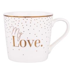 Kubek do kawy i herbaty porcelanowy altom design wysoki 350 ml, dekoracja my love