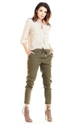 Khaki casualowe spodnie z lampasami