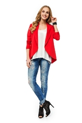 Czerwona elegancka dzianinowa narzutka z wolnymi połami