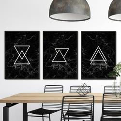 Zestaw trzech plakatów - triangular marble , wymiary - 50cm x 70cm 3 sztuki, kolor ramki - czarny