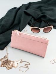 Portfel damski slim wallet różowy milano design k1209 - różowy
