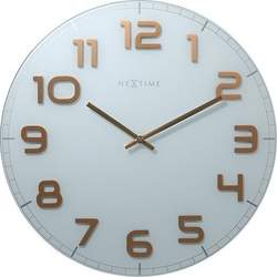 Zegar ścienny classy round biało-miedziany