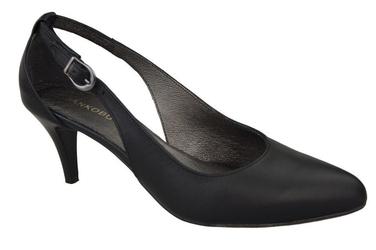 Obuwie damskie sandały niska szpilka skóra naturalna czarne 973 elitabut - czarne