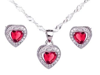 Srebrny komplet pr. 925 serce z czerwoną cyrkonią dedykacja - komplet z czerwoną cyrkonią