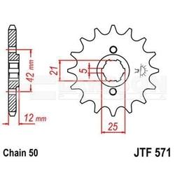 Zębatka przednia jt f571-16, 16z, rozmiar 530 2200216 yamaha xj 600
