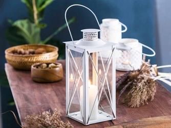 Latarenka  latarnia lampion ozdobny wiszący metalowy altom design kwadratowa biała 31 cm