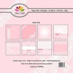 Papier ozdobny 15x15cm32szt - baby pink - bbp
