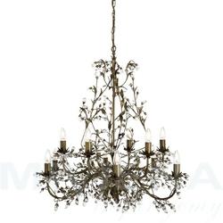 Almandite lampa wisząca 12 brązowe złoto kryształ