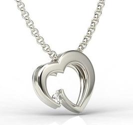 Wisiorek z białego złota w kształcie serca z cyrkonią lpw-95b-c