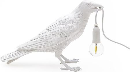 Lampa bird biała waiting