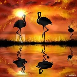 Obraz na płótnie canvas dwuczęściowy dyptyk flamingo na pięknym tle zachodu słońca