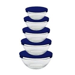 Miseczki  salaterki szklane z granatowymi pokrywkami altom design, komplet 5 misek szklanych