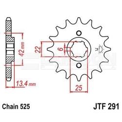 Zębatka przednia jt f291-16, 16z, rozmiar 525 2200441 honda cmx 450