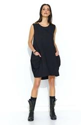 Czarna dresowa sukienka bombka z cekinami