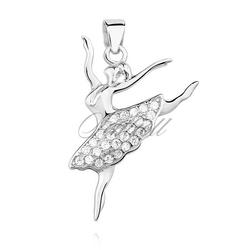 Srebrna zawieszka pr.925 baletnica z cyrkoniami