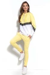 Cytrynowe dresowe spodnie ze ściągaczem na dole