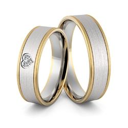 Obrączki ślubne dwukolorowe z sercem i brylantami - au-972