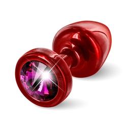 Plug analny ozdobny - diogol anni butt plug 25mm okrągły czerwony z różowym