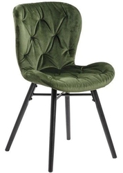 Pikowane krzesło na czarnych nogach hudson 14 vic zielone