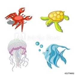 Naklejka samoprzylepna zwierzęta morskie, kraby, meduzy, żółwie i ryby
