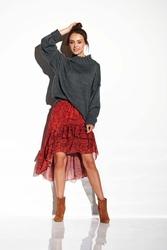Oversizowy grafitowy ciepły sweter z półgolfem
