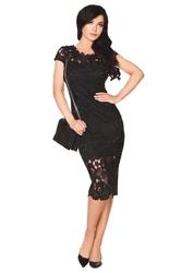Czarna ołówkowa sukienka z koronką