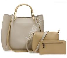 Torebka damska szara z beżowymi wstawkami | duża torebka w zestawie z listonoszką i saszetką 0610