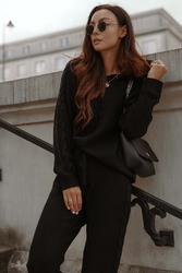 Dzianinowy komplet bluza i spodnie - czarny