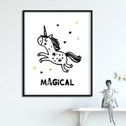 Magical - plakat dla dzieci , wymiary - 20cm x 30cm, kolor ramki - biały