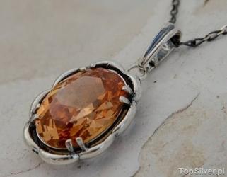 Marakuja - srebrny wisiorek z topazem złocistym