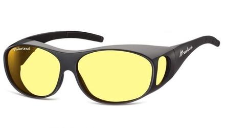 Żółte okulary z polaryzacją hd fit over dla kierowców, nakładane na korekcyjne fo1i