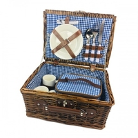 Kosz piknikowy koszyk wiklinowy talerze sztućce 2os