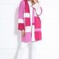 Kolorowy płaszczowy kardigan z kapturem - różowy