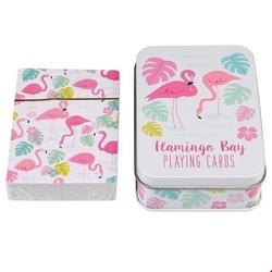 Karty do gry w puszce, flamingo bay, rex london - flamingi