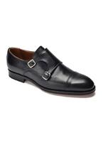 Eleganckie czarne skórzane buty męskie podwójne monki 10,5