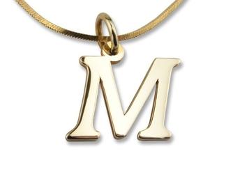 Wisiorek złota literka -wzór 1m w