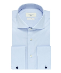 Elegancka błękitna koszula męska taliowana slim fit z mankietami na spinki 45
